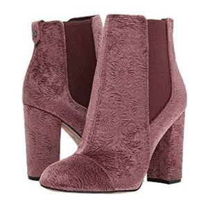 Case Embossed Velvet Ankle Boots in Antique Rose